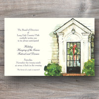 Christmas open house invitations with front door and holiday wreath