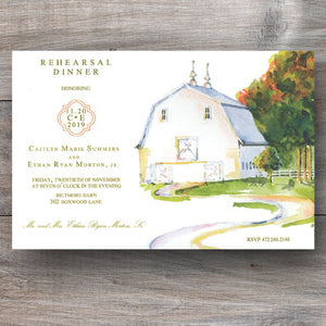 White Barn Wedding Rehearsal Dinner Invitations