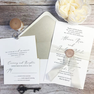 champagne and blush letterpress wedding invitation