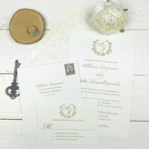 classic white and gold thermography wedding invitation suite