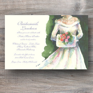 Christmas bridal shower invitations with winter bride wearing white dress