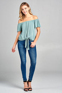 Take A Note Off-The-Shoulder Tied Up Top (5 Colors)