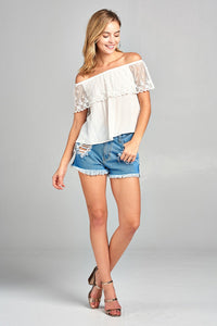 Love Poem Off-The-Shoulder Lace Top (6 Colors)