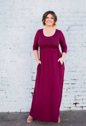 Solid Maxi Dress in Dark Wine