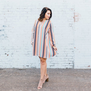 Navy/Pink Striped Dress