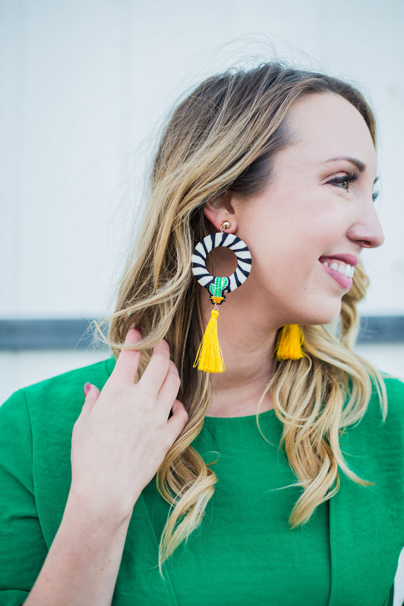 Cactus Yellow Fringe Earrings