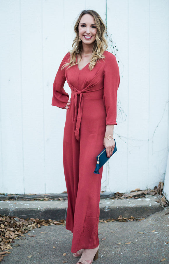 Rust Long Sleeved Jumpsuit