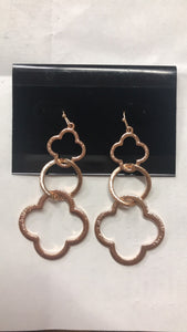 Rose Gold Clover Dangles
