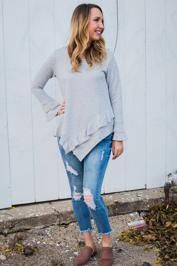Grey Ruffle Layered Hem Top