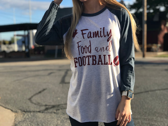 Family, Food and Football Raglan Tee