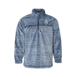 Frosty Navy Sherpa with Monogram