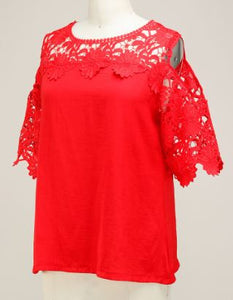 Red Lace Crochet Top