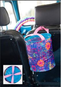 Purple Flower Pop Up Car Trash Bin