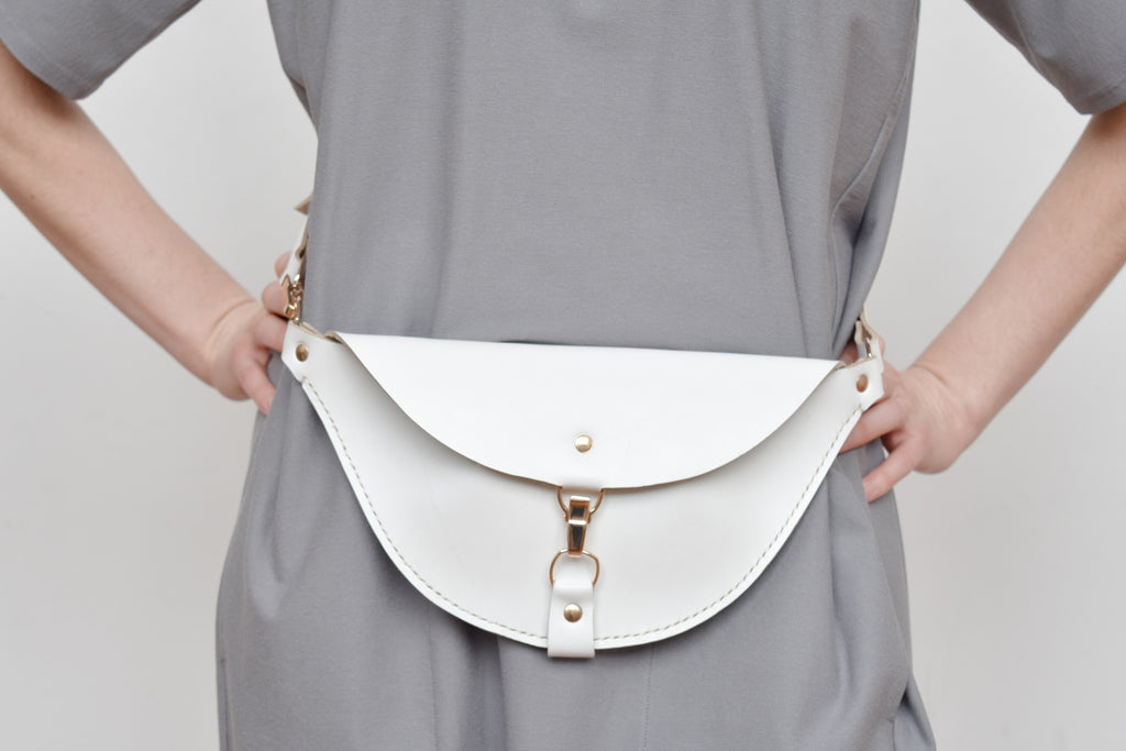 Firenze Hip Bag | White Leather | Only 1 Available