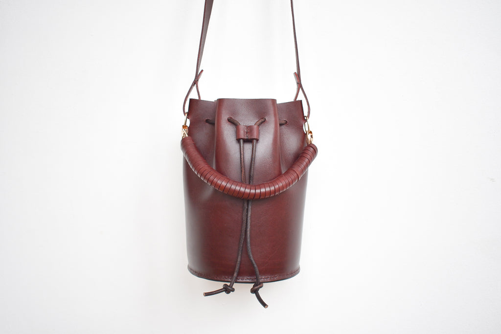 Leather Bucket Bag | Burgundy