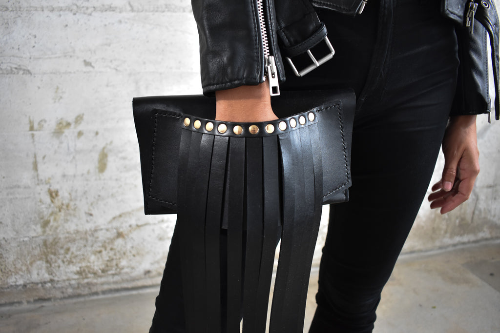 Fringe Leather Clutch