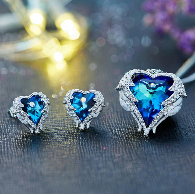 Swarovski Crystal Angel Heart Set