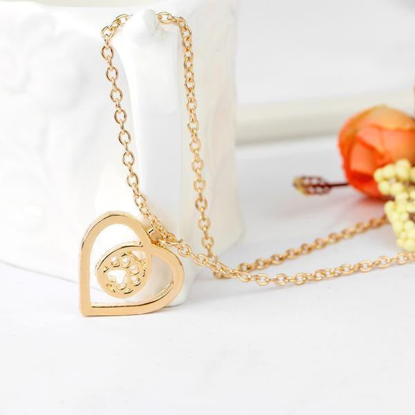 DOG PRINT HEART PENDANT