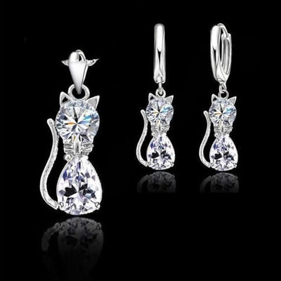 Cat Pendant Necklace+ Earrings Hot Crystal Jewelry For Women
