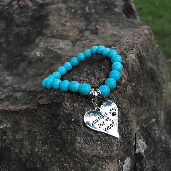 """YOU HAD ME AT WOOF"" TURQUOISE BRACELET"