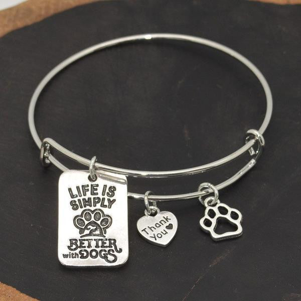 """LIFE IS SIMPLY BETTER WITH DOGS"" BANGLE"