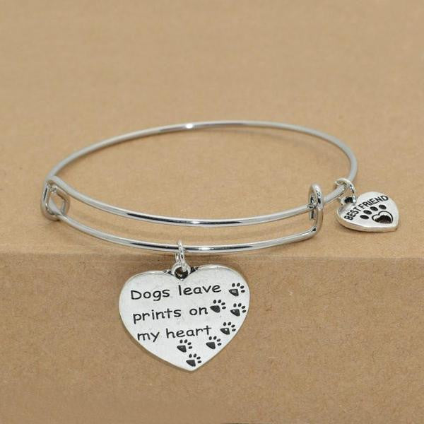"""DOGS LEAVE PRINTS ON MY HEART"" BANGLE"