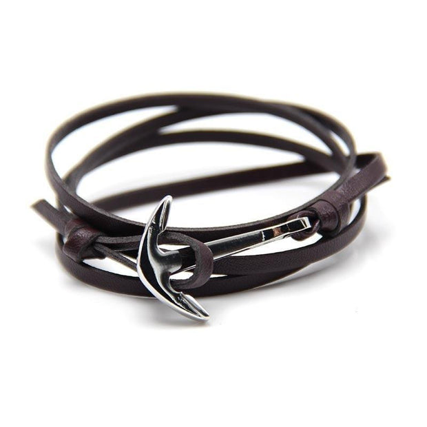 PU Leather Wrap Anchor Bracelet
