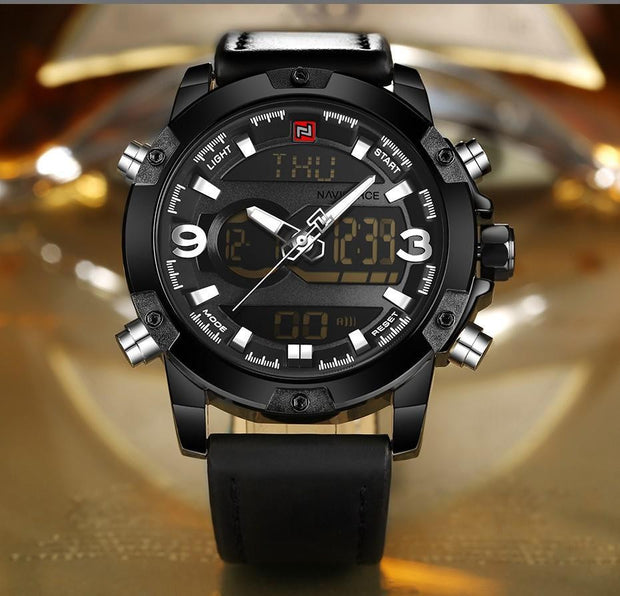 Men Analog Digital Leather Sports Watch
