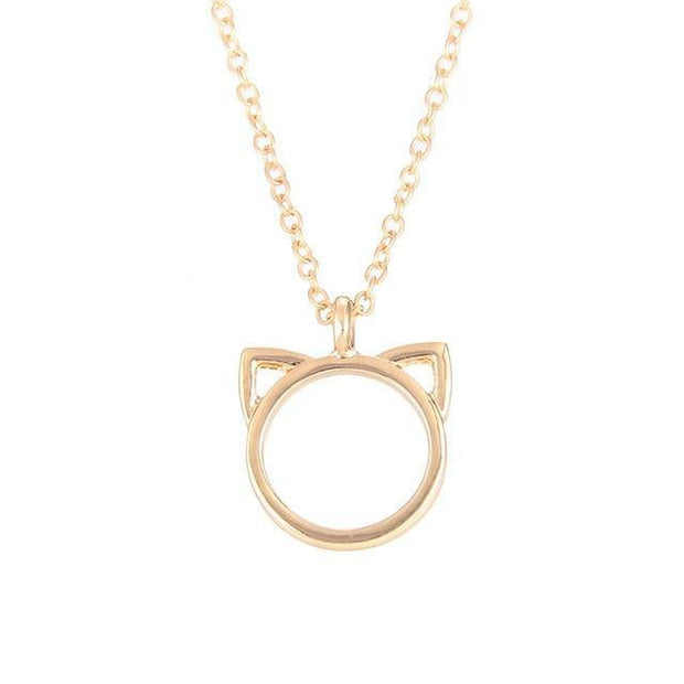 Cat ear alloy pendant short necklace