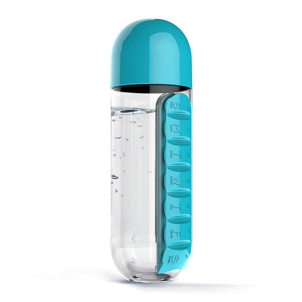 Water Bottle With Daily Pill Box Organizer