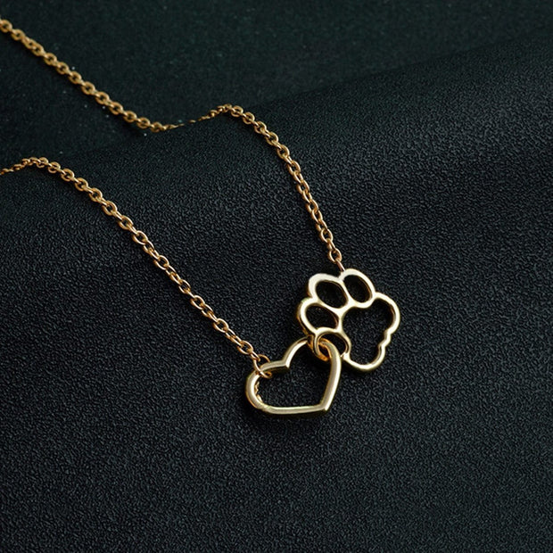 Hollow Pet Paw Footprint & Love Heart Pendant Necklace