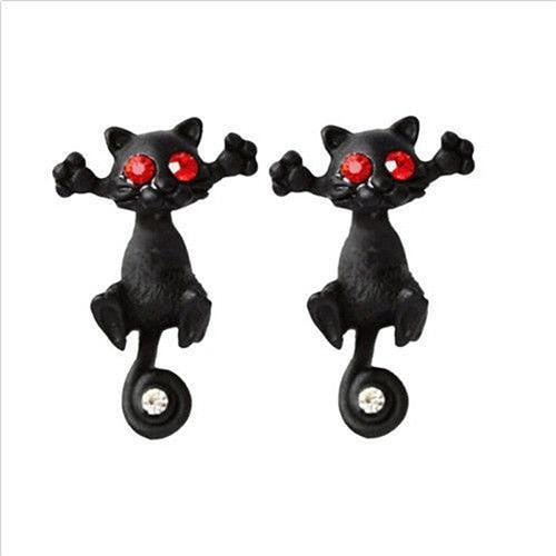 Creative 3D Animal Earrings Cartoon Cat Kitten Lovely Ear Stud Earrings Jewelry