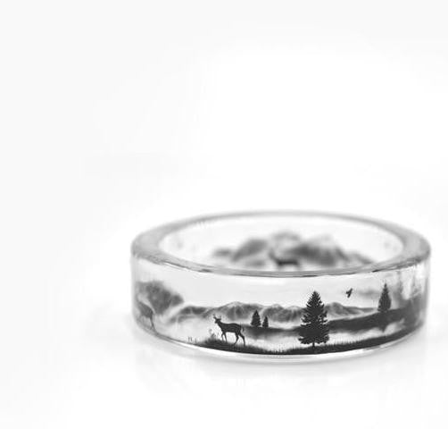 Flower Invitation Finished Resin Ring