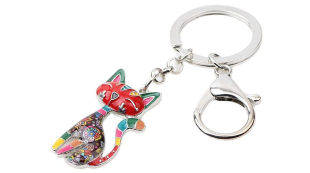 Metal Enamel Cat Kitten Key Chain Key Ring