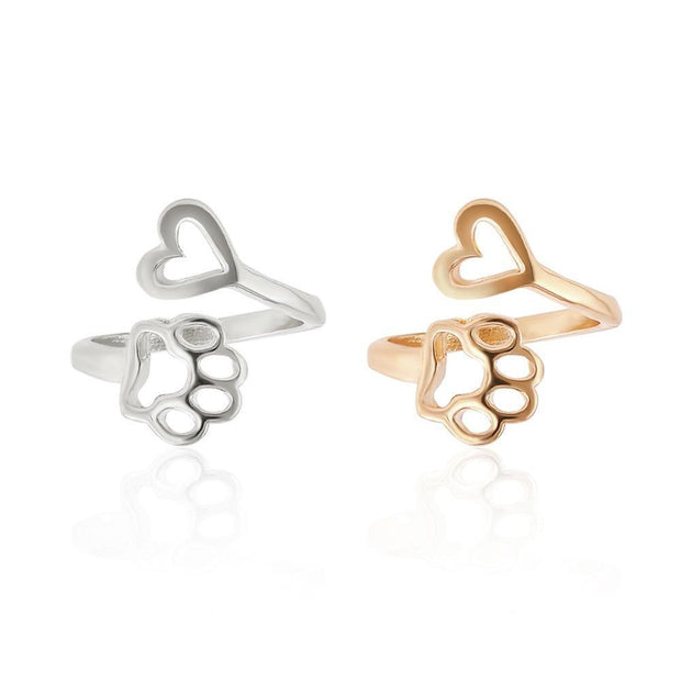 Cute Simple Metal Love Heart Cat Dog Foot Open Adjustable Rings