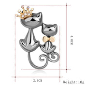 Crystal Couple Queen Cat Brooch For Women Mom