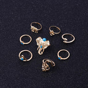 Boho Retro Blue Gem Rings  8pcs /Pack