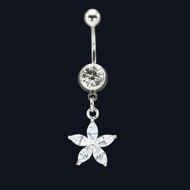 Flower Dangle Belly Button