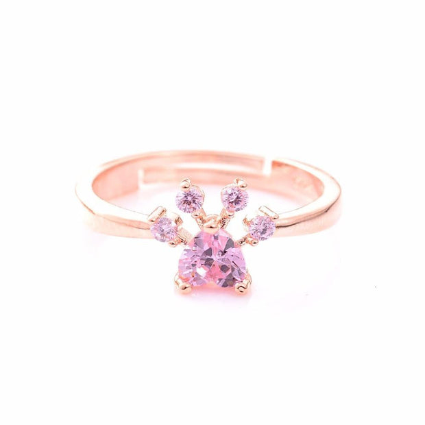Cute Bear Paw Cat Claw Opening Adjustable Ring