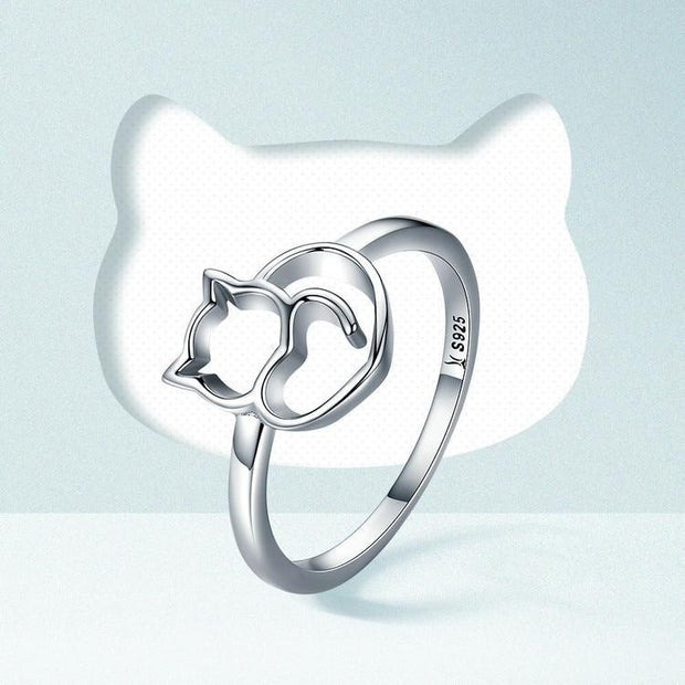 Silver Naughty Little Cat & Heart Finger Ring