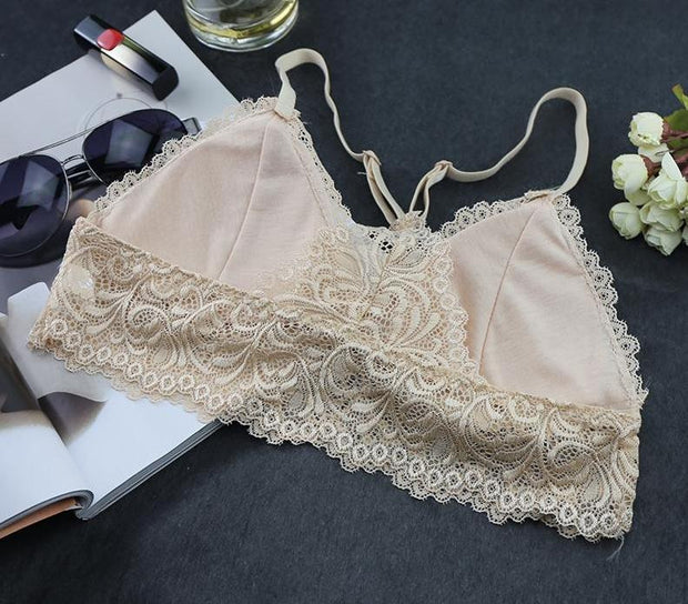 Blinvas Bra Wire Free Thin Cotton Lace Y-line Straps