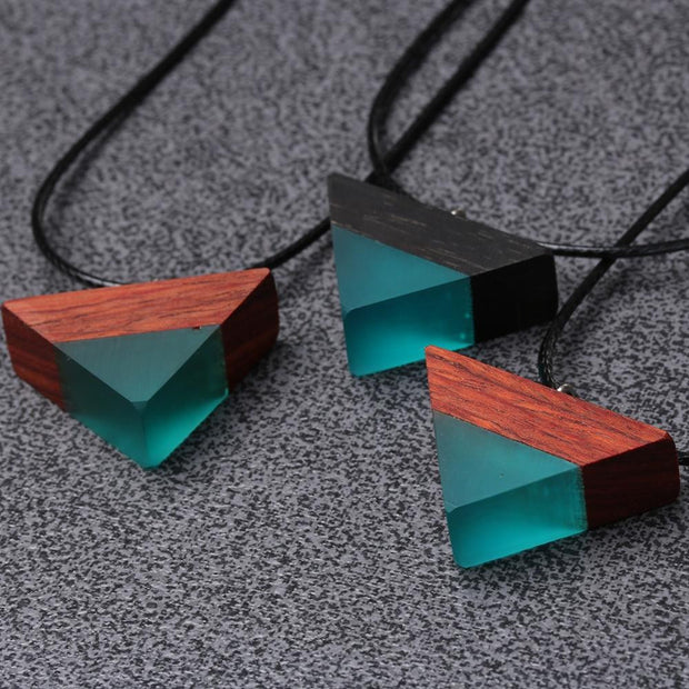 Triangle Wood Pendant Necklace