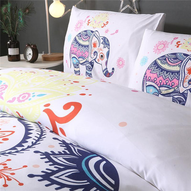 White Elephant  Duvet Cover Set- 3Pcs