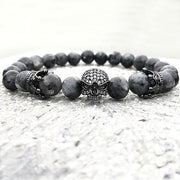 Trendy Natural Beads Strand Skull Lava Rock Stone Bracelet