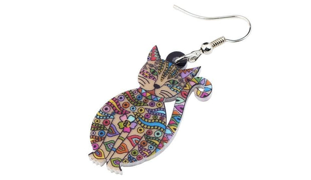 Acrylic Floral Cat Kitten Animal Jewelry