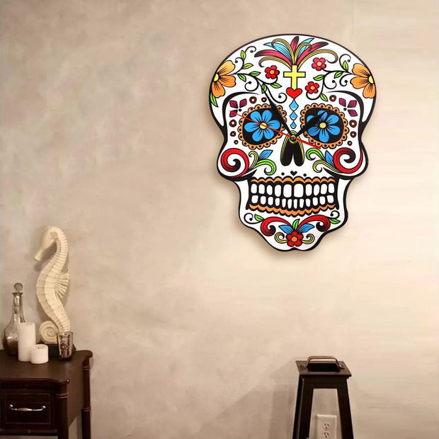 Floral Skull Modern Wall Multi Color Clock