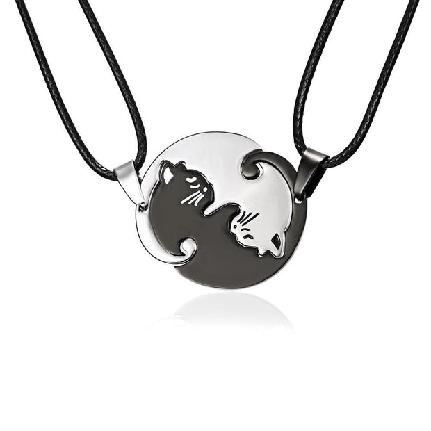 Black Silver Couple Pendants Necklace
