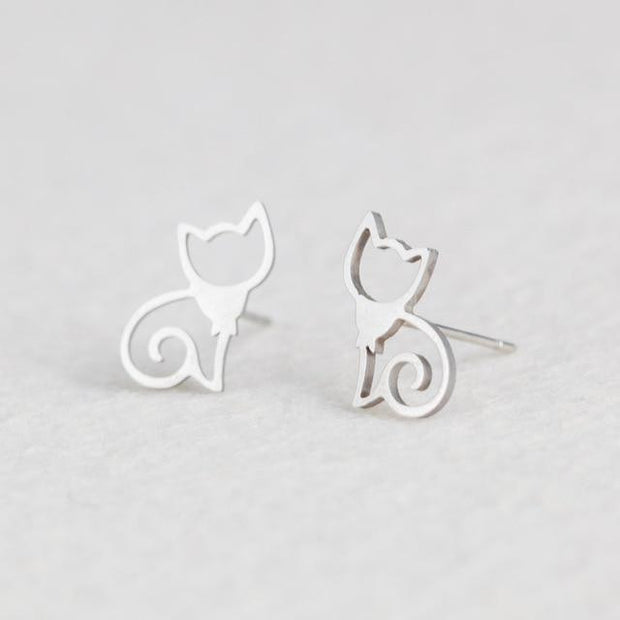 Female Stainless Steel Golden Sliver color Cats Stud Earrings