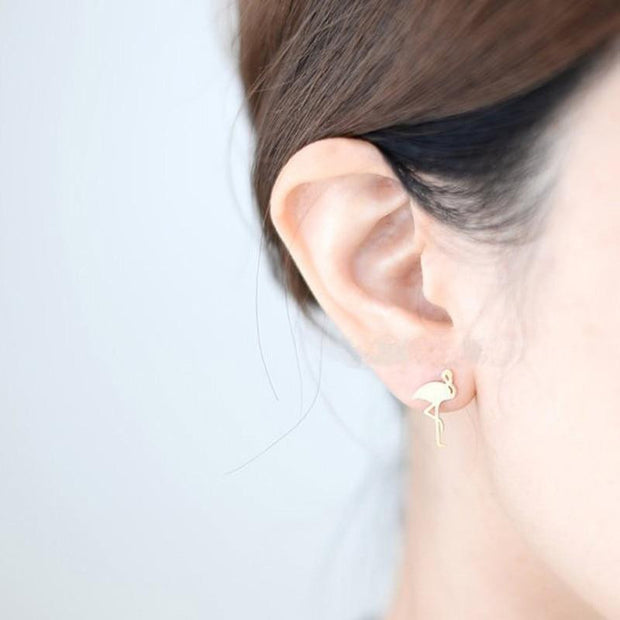 Women Gold/Silver color Stainless Steel Cute Stud Earrings