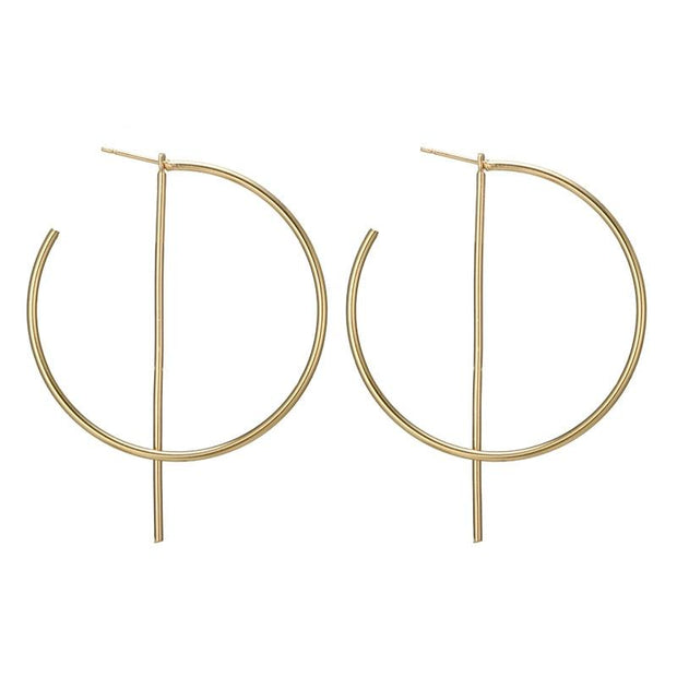 Big Alloy Hoop Earrings